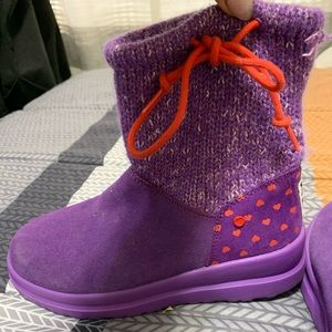 Purple and red ugh boots